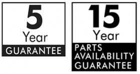 5 year guarantee and 15 year parts guarantee