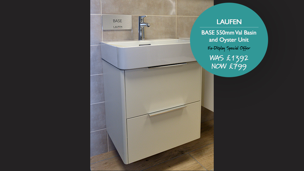Laufen BASE 550mm Val Basin and Oyster Unit (Tap not included.) Was £667.82. Now £399.00.
