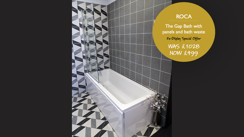 Roca 'The Gap' Bath with panels and bath waste. Was £1028. Now £499.