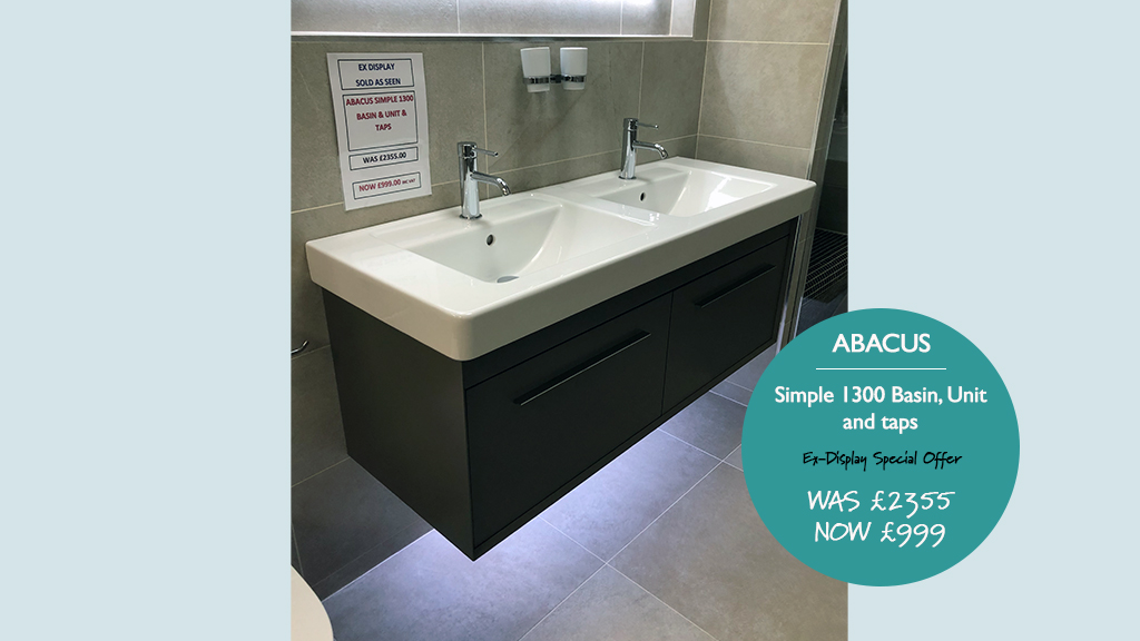 Abacus Simple 1300mm Unit, Basin and Tap